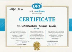 certyfikat z kursu sufitów napinanych