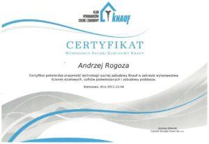 certyfikat z kursu suchych zapraw knauf